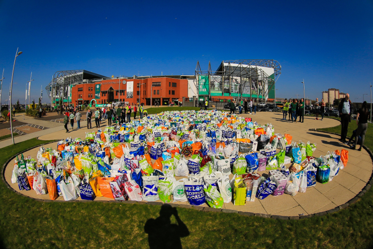 Foodbank collection at Celtic v Kilmarnock game