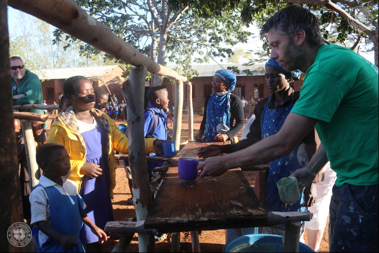 Celtic FC Foundation volunteers making friends in Malawi